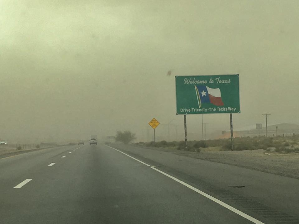 Windy conditions along I-10