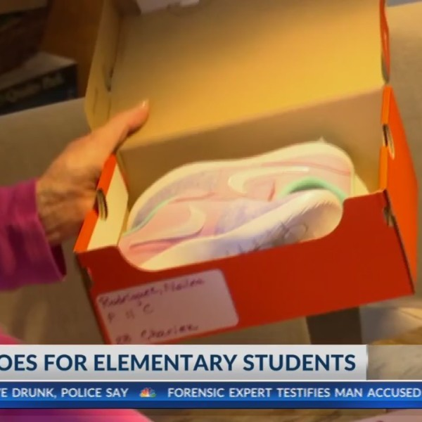 Students at Cooley Elementary get new shoes.