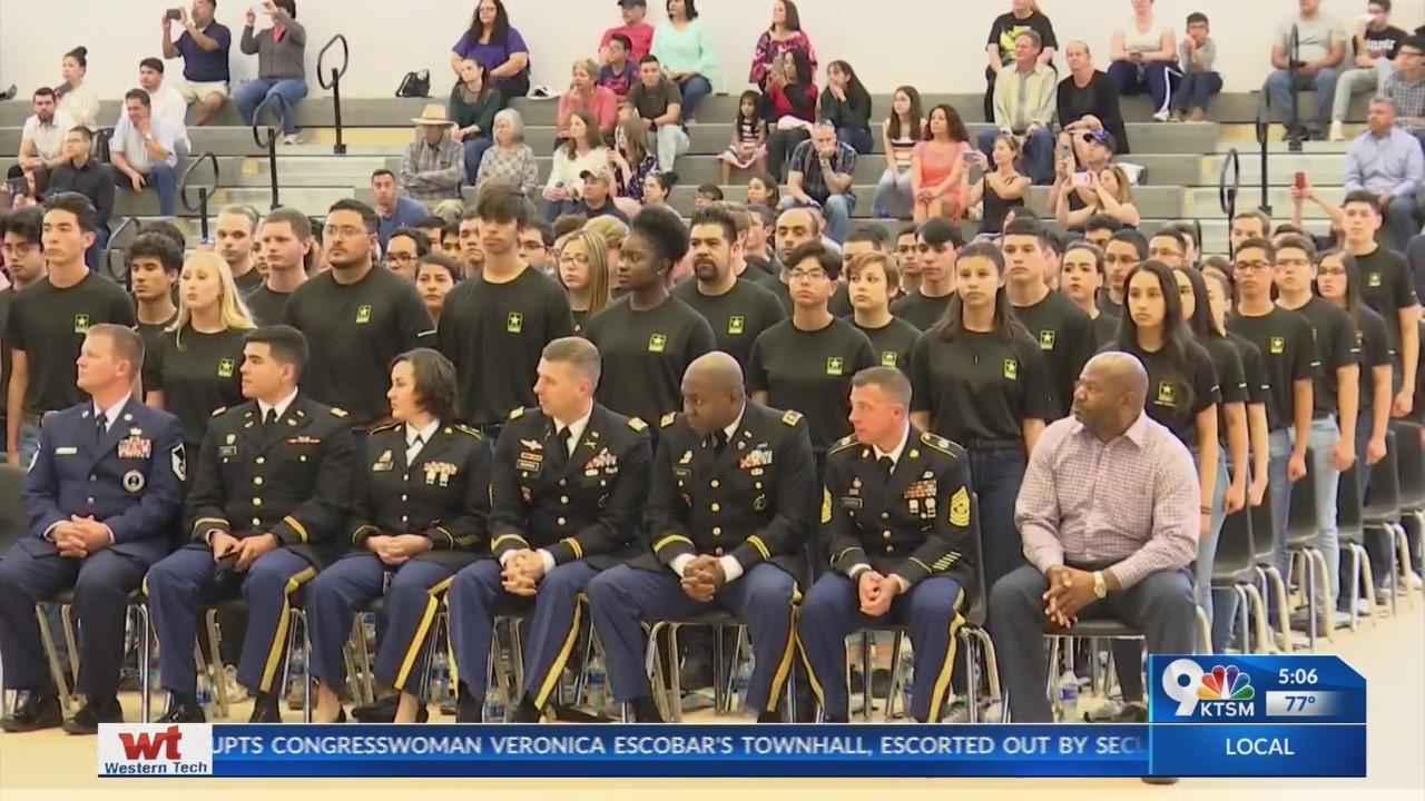 Hundreds of high school students celebrate future military enlistment