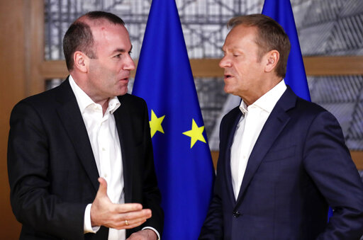 Manfred Weber of European People's Party and Candidate visit EU council President