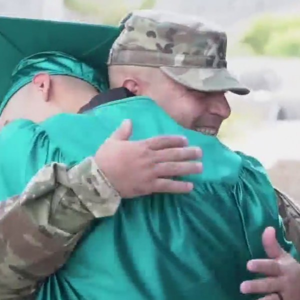 Army father returns to El Paso from Middle East to surprise son at graduation