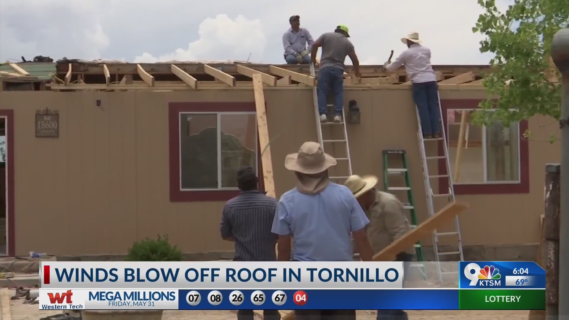 Family in tornillo work to fix roof damage caused by high winds