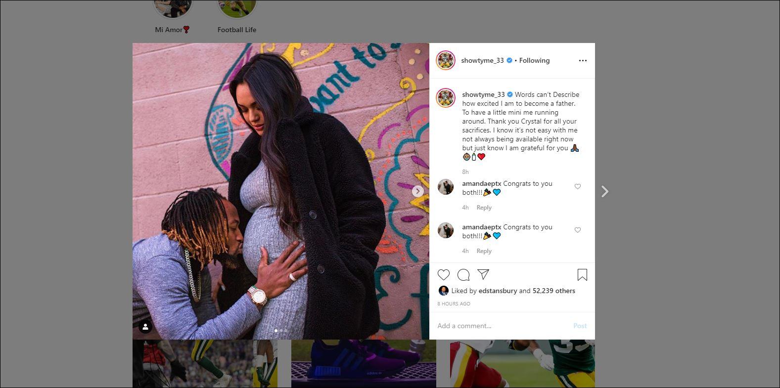 Aaron Jones Girlfriend Crystal Molina Expecting First Child Ktsm 9 News