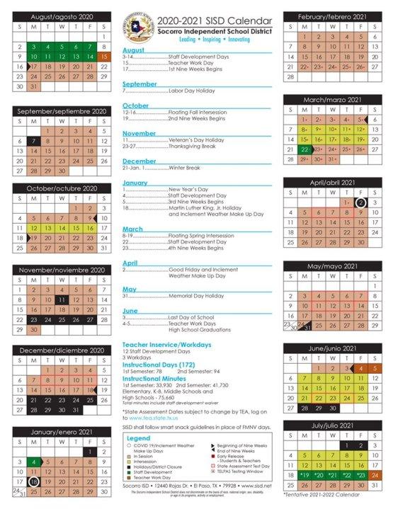 Sisd Calendar 2021 SISD updates school calendar to meet new guidelines