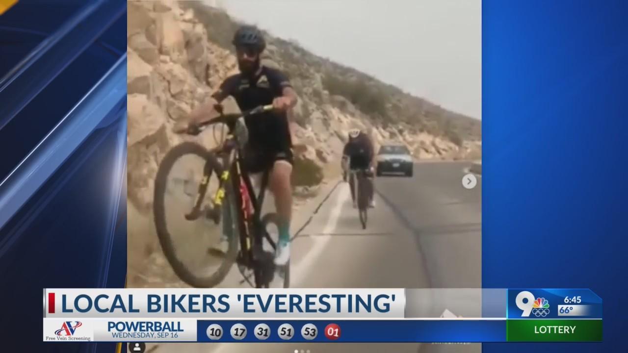 Bikers everesting on Scenic Drive