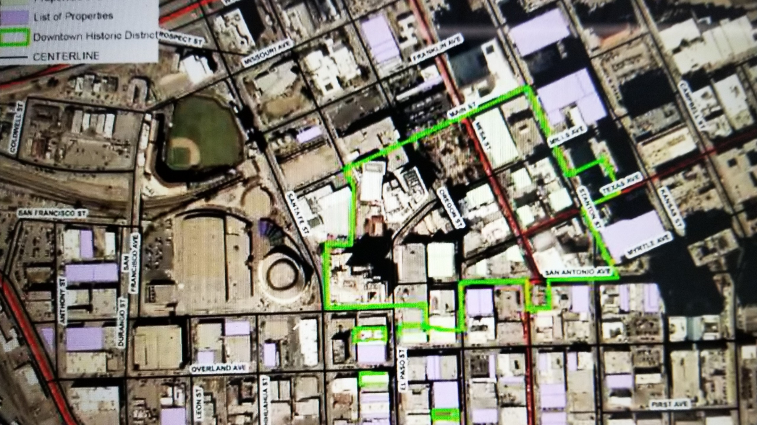 Satellite view map of the proposed Downtown Historic District in Downtown El Paso. A green line indicates the area to be included in the district.