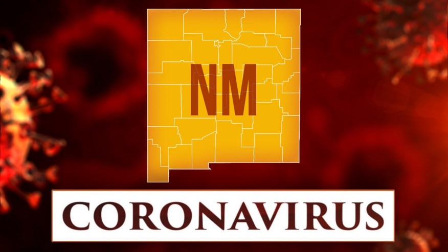 Graphic with outline of New Mexico in yellow with the letters NM inside the state and banner with the word coronavirus under it, all sitting on red background with enlarged coronavirus in the background