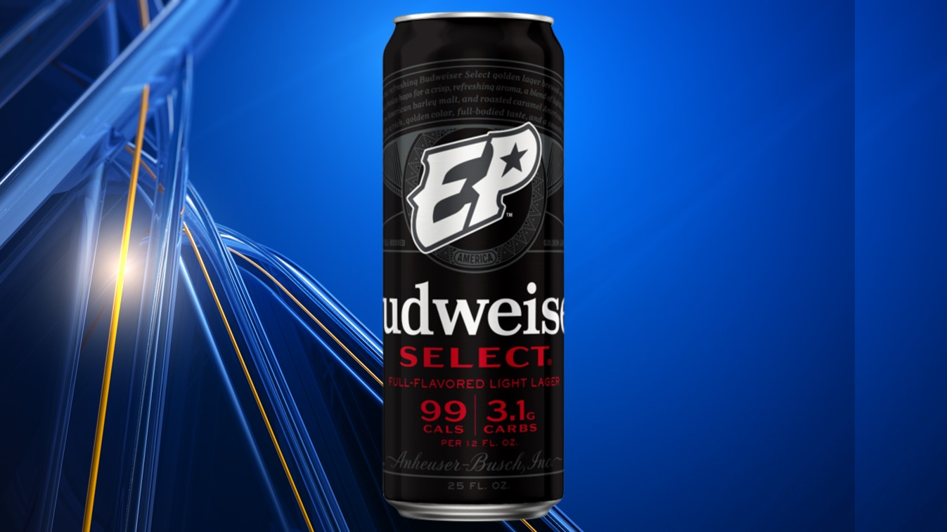Black Budweiser Select can with white El Paso Chihuahuas logo