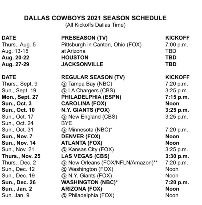 Nfl Releases 2021 Schedules Cowboys To Play In Six Primetime Games Ktsm 9 News