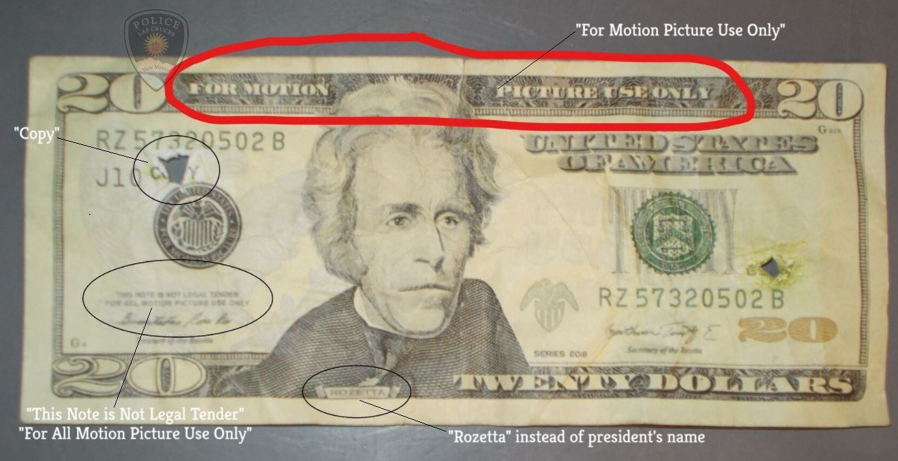 Photo of fake bill used in movies